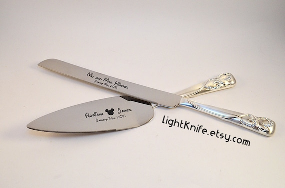engraved wedding cake knife and server disney wedding black engraved wedding cake knife and serving 3921