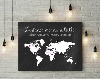 Travel Gifts | Long Distance Relationship Boyfriend | Large Canvas Art | Chalkboard World Map Print | Long Distance Going Away Gift - 56577