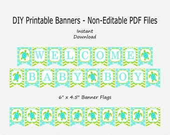 Welcome Baby Boy Banner - Lime Green & Aqua Blue - Sea Turtle Baby Shower Party Buntung - PRINTABLE - INSTANT DOWNLOAD