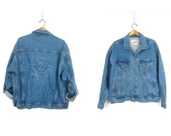 1980s Denim Trucker Jean Jacket Vintage Winston Rodeo Blue Dungaree Coat Oversized Hipster Spring Jacket Western Cowboy Coat GS Size Large