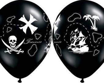 "Pirates Latex Balloons 11"", Pirates Balloons, Pirate's Treasure Map Balloons"