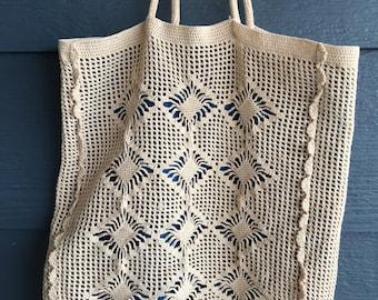 Vintage White Crocheted Handbag, Blue Satin Lined Crochet Tote Bag