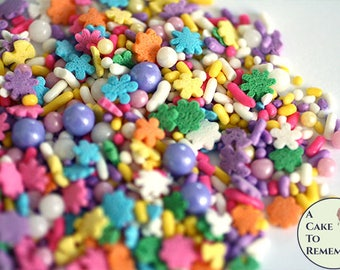 Unicorn party cupcake sprinkles with pearls, about 4 ounces. Girl's birthday or baby shower mini cupcake decorations.
