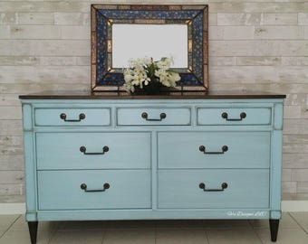 Rustic French Hickory Dresser, Farmhouse Console 1960s