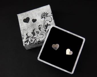 Handmade heart stud earrings, tiny sterling silver studs