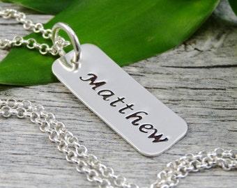 Fabriquées à la main bijoux - bijoux personnalisés - nom Collier - argent Rectangle