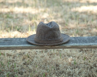 Classic Tan Fedora, Tuck Away Brown Water-Resistant Hat