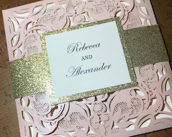 Pink Laser Cut Wedding Invitations with belly band
