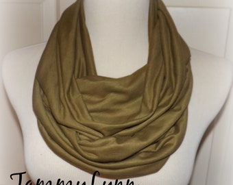 Olive Brown Solid Infinity Scarf Jersey Knit Soft Scarf Womens Tammy Lynns Creations