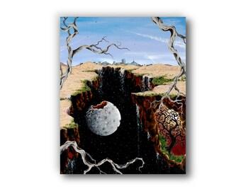 Giclée, Canvas Print, Acrylic Painting, Surrealism, Contemporary Art, Cityscape, Landscape, Reproduction