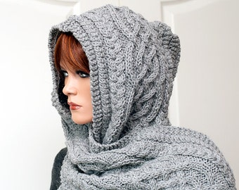 """Knitting Pattern for hooded scarf """"Anika"""""""