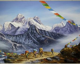 "Landscape Hand Painted Mountain 90cm X 60cm 35""x 23"" Art Nepal Oil Painting Canvas Framed"