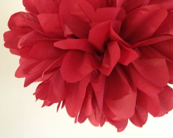 MAROON tissue paper pompom dark red classy traditional valentines wedding decorations ruby anniversary party aisle marker poms Eid