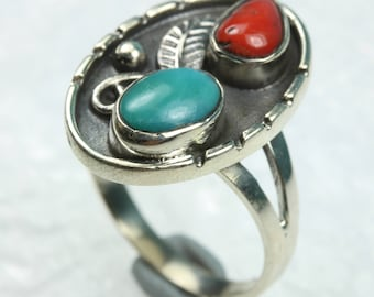 Turquoise and Carnelian Sterling Silver Ring