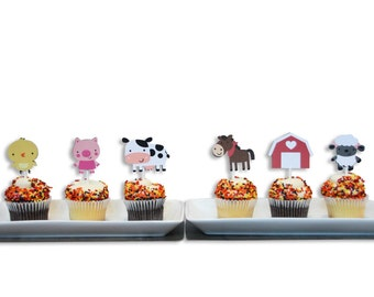 12 Barnyard / Farm Themed Cupcake Toppers, Farm Birthday, Barnyard Birthday, Baby Shower, First Birthday
