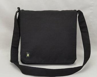 All Black Medium Size Canvas Messenger Bag, Mens Womens, Zipper iPad Tablet Phone Pockets, Crossbody Shoulder Bag