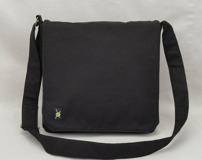 All Black Medium Size Canvas Messenger Bag with Tablet & Phone Pockets