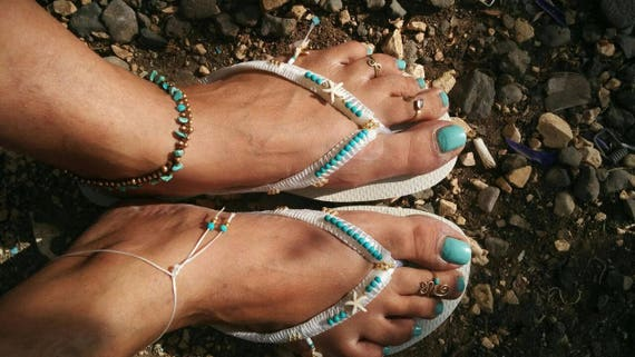 Dress based White Boho Turquoise Bohemian Slippers Decorated Havaianas amp; Flat Flip Sandals Sandals Gold on Wedding Flop Beaded Thong 1w1TZ