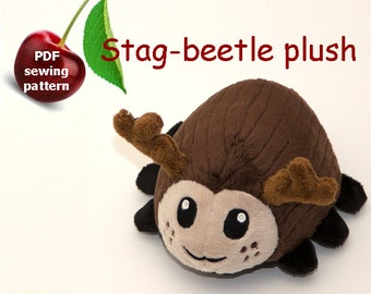 Stag-beetle stuffed animal handheld size plushie PDF sewing pattern - cute and easy kawaii anime DIY plush toy