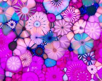 Designer Artist Created Lycra  Knit Fabric Purple Kaleidoscope Athletic Dance Swimwear Swim Suit