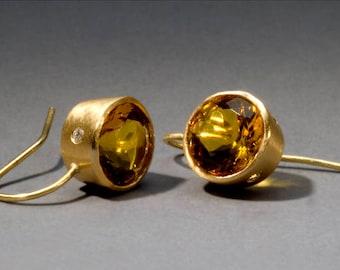 stars - 18K gold earrings, citrines and diamonds