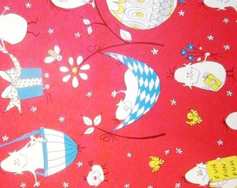 Vintage Wrapping Paper - Fun Fun Fun - Full sheet Happy Birthday Gift Wrap