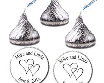 Printable Two Hearts Wedding Candy Labels, DIY Custom Personalized Name and Date Candy Favors Stickers, Hershey Kisses Label (2146))