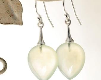 Prehnite earrings, Sterling Silver, pale green gemstones, carved drops