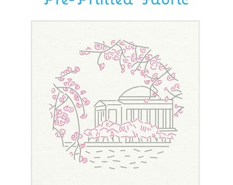 CHERRY BLOSSOMS Washington, DC pre-printed embroidery fabric, hand embroidery, modern embroidery design by Studiomme