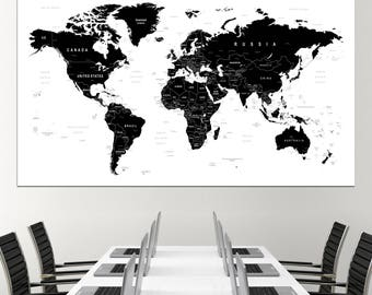 Black and white map etsy large black and white world map wall art with countries names canvas print large black gumiabroncs