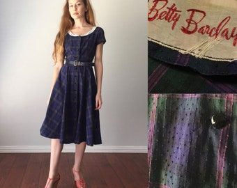 Vintage 1950s Cotton Day Dress / Betty Barclay 50s Dress / Full Skirt / Navy and Pink Plaid / Size S Small