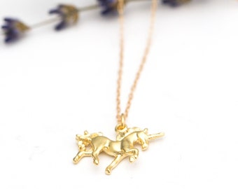 Satin Gold Unicorn Necklace - Double Sided - 16K Gold Plate Over Solid Brass - Satin Hamilton Gold Chain w Lobster - Graduation - Birthday
