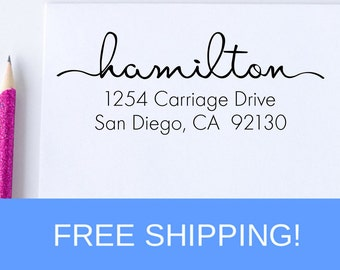 Return Address Stamp, Custom Address Stamp, Housewarming Gift, Wedding Stamp, Self Inking Address, Self Inking Stamp, Free Shipping  (D112)