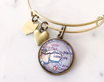 Lakeside Ohio Vintage Map Charm Bangle Bracelet - Adjustable Bangle Bracelet - Stacking Bracelet - Traveler Bracelet - Travel Map Bracelet