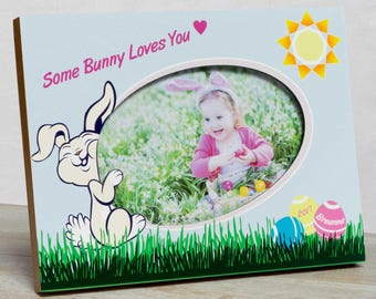 Personalized Easter Picture Frame, Girls Easter Frame, Easter Bunny Frame, Girls First Easter Frame, Baby's Easter Frame, Easter Frame  Girl