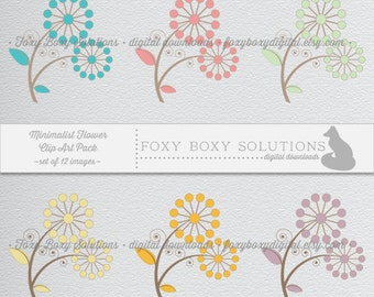 Instant Download Minimalist Floral Clip Art - Printable Crafting Supply - Digital Scrapbooking - Scrapbooking