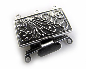Antique Silver Scroll Clasp