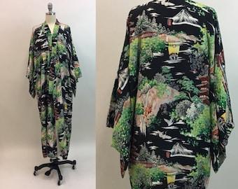 1950s Black Rayon Kimono / vintage 50s Scenic Japanese Kimono Robe / Made in Japan / size M - XL