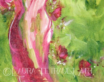 Sew Lovely Spring - Original Painting on Canvas 30x15 inches