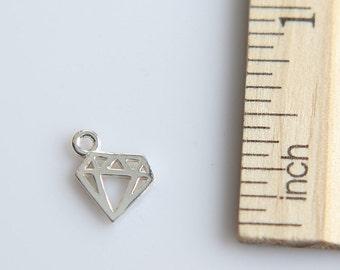 925 Sterling Silver Charm, Tiny Diamond Charm, Sterling Silver Tiny Diamond Charm, Tattoo Charm, Outline Diamond Charm, 8mm ( 1 piece )