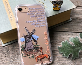 Don Quixote Classic Book Phone Case for iPhone 5, SE, 6, 6 Plus, 7, 7Plus, 8, 8 Plus and X. TPU or Wood Options