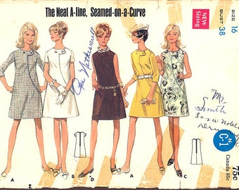 1970s Vintage Butterick Pattern 4818, Size 16, Misses One Piece Dress in 3 Versions