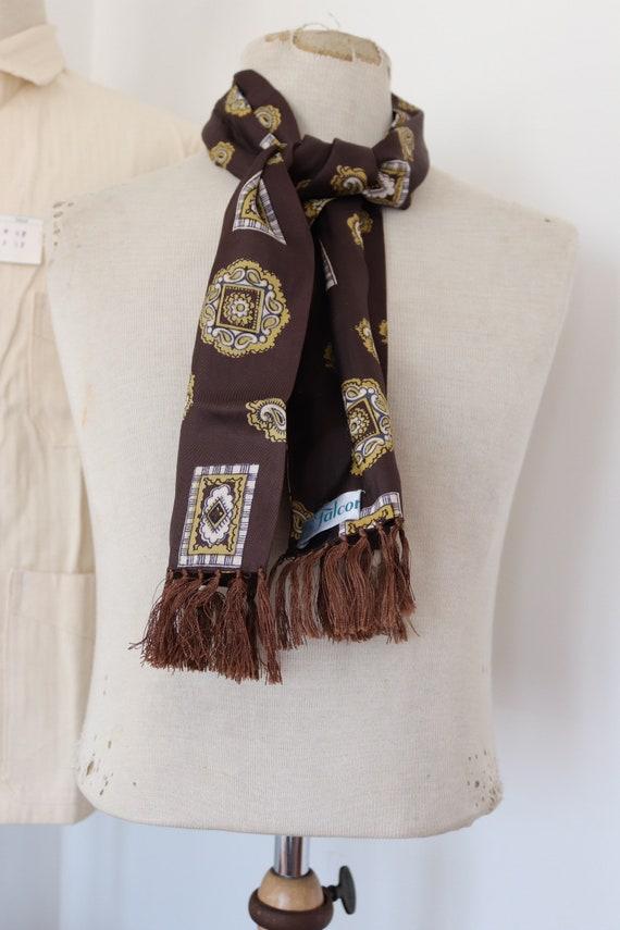 "Vintage 1960s 60s mens tassel tassled scarf mod dapper dandy brown yellow paisley acetate 8"" x 47"""