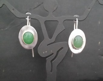 Argentium Sterling Silver and Chyrsoprase Earrings