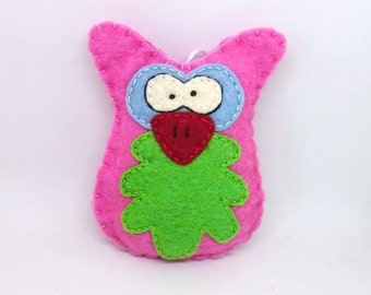 Felt owl ornament handmande Christmas Housewarming home decor Baby shower nursery decoration eco friendly