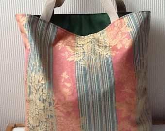 Tote bag in very nice fabric orange green and gold