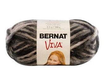 Bernat Viva Yarn 51040  Black Noir Negro Super Bulky 6 Acrylic / Nylon Blend 100g 3.5 oz | US11/8m m knitting needles | crochet hook L11/8mm