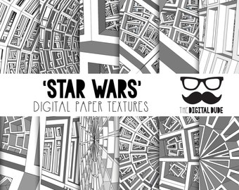 Premium Digital Paper Set, Abstract Design, Star Wars-Inspired, Digital Paper, Scrapbook Paper, Abstract Pettern, Instant Download