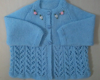 Baby girl cardigan toddler jacket vegan easy care knit blue with roses
