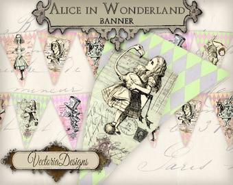 Alice in Wonderland Banner printable party banner printable paper craft art hobby crafting instant download digital collage sheet - VD0508